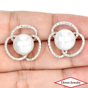 0.71ct Diamond 11mm South Sea Pearl 18K Gold Cluster Earrings 10.7 Grams NR