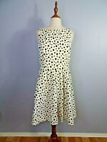 Cue Womens Size 10 Polka Dot Fit And Flare Knee Length Sleeveless Dress