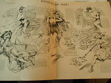 Etoiles de Mer ! Etoile Filante Grande Ourse Animaux chevaux Print Art Déco 1908