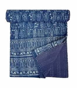 indian hand block printed indigo cotton kantha quilt bedding bedspread Throw