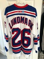 Jamie Lundmark New York Rangers White CCM Jersey Size Large