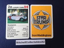 Waddington Star Trump 1978 Single card Luxury Cars Renaissance Canada