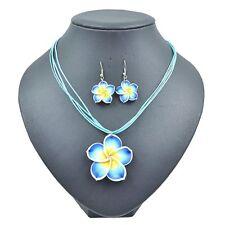 Lady's Summer Beach Hawaiian Blue Frangipani Flower Necklace&Earring Jewelry Set