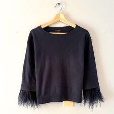 J Crew Feather Cuff Sweater Women Xs Ostrich Sleeve Detail Gorgeous Navy Blue