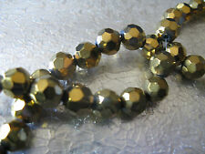 Gold Glass Beads 20 Craft Jewelry Bead about 8mm Faceted Round