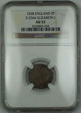 1568 England 3p Threepence Silver Coin S-2566 Elizabeth I NGC AU-53 AKR