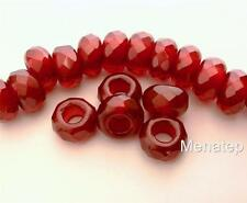 4(Four)  8x13mm Large Hole Rondelle Beads: Pearl Coated - Pomagranate
