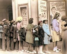 """BLACK BELT CHICAGO THEATER """"NEGRO LINE"""" 1941 8x10"""" HAND COLOR TINTED PHOTOGRAPH"""