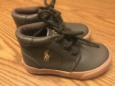 Ralph Lauren Polo Collin Baby Kids Toddler Boys Brown Tan Mid Boots Sz 8 NEW
