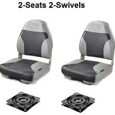 2 Fold Down Boat Seats High Back Navy Gray + Swivels Bass Fishing Pontoon Seat