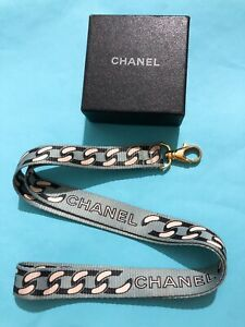 Chanel Vintage Light Blue Chain Print Lanyarn