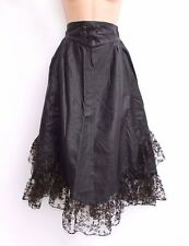 Black 100% Real Leather Lace Trim Asymmetrical Victorian Ladies Skirt Size UK 6