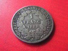 belle piece en argent  1 francs 1888