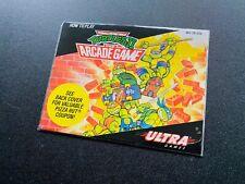 TMNT Ninja Turtles II 2 Arcade Game 1st PRINT 🔥 NES Nintendo Manual PIZZA HUT