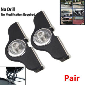 2Pcs Truck Hood LED Work Light Bar Mount Bracket Clamp Holder No Need Drilling