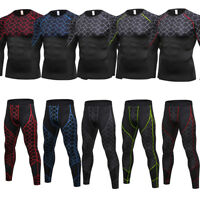 Men's Compression Tops Athletic Baselayers Sports Shirts Long Pants Cool Dry