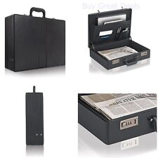 Leather Briefcase Mens Business Portfolio Black Messenger Attache Hard Case Bag