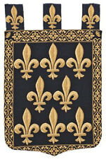 Fleur de Lis tapestry wall hanging blue and gold chenille jacquard woven