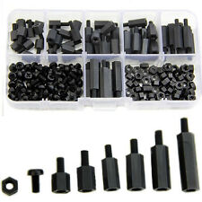 180Pcs M3 Nylon Black M-F Hex Spacers Screw Nut Assortment Kit Standoff Black