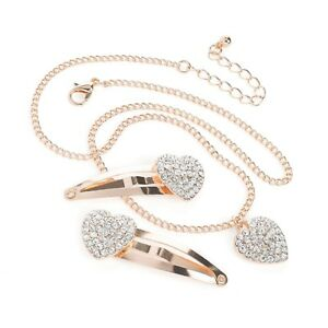 New Rose Gold or Silver Crystal Heart Necklace & 2 Matching Hair Clip's