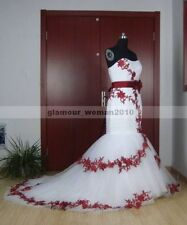 Vintage White and Red Appliques Mermaid Wedding Dresses Bridal Gowns Custom size