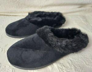 Charter Club Ladies Boot Slippers Small 5/6 Black W/Faux Fur Cuff Soft Woman New