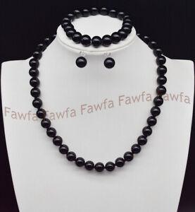 10mm Black Agate Round Gemstone Beads Necklace Bracelet Earring Set 18/7.5''AAA