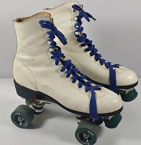 Vintage Sure Grip Super X White Roller Skates Women's Sz 9