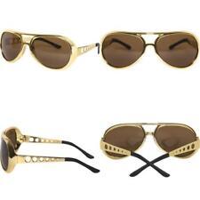 Gold 60s Rock Star Aviator Sunglasses; Metal Side Pieces elvis glasses **NEW**.