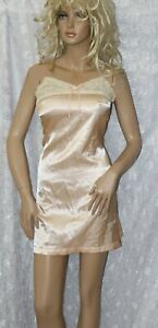 VTG Gold Satin Lace Chemise Nightie Nightgown S