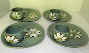 4 Sets Mid-Century PURINTON POTTERY Tea & Toast Plates & Cups Maywood/Dogwood