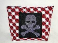 """NWT"" Rhinestone Skull Black & Red Tartan Plaid Girly Large Purse Diaper Bag"