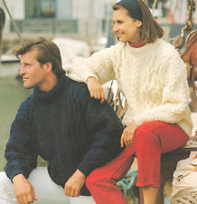 "Crew /Polo Neck Cable Aran Sweater Man or Woman ~  32"" - 44"" ~ Knitting Pattern"