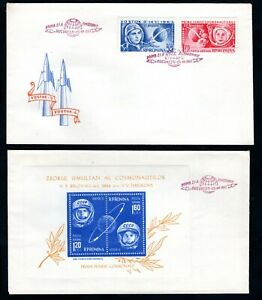 Romania - 1963 Vostock 5 and 6 Manned Space Flight 2 x First Day Covers