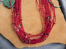 "12 Strand Red Seed Bead, Red Green & White Beads, Sterling Necklace 23"" Navajo"