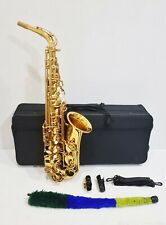 More details for ammoon alto saxophone brass lacquered gold soprano+ padded case