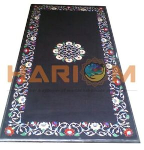 4'x2' Marble Dining Table Top Multi Floral Marquetry Inlay Hallway Decors B596