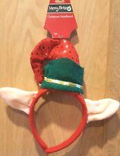 Holiday Time Red/Green Elf Ears Sequin Felt Headband w/Bell