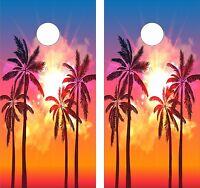 Pink Flamingo Sunset Palm Tree Cornhole game decal wraps set