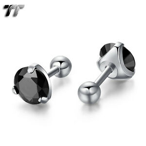 TT Surgical Steel Black CZ Round Fake Ear Cartilage Tragus Earrings (TR02D) NEW