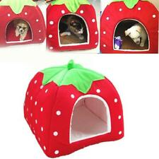 Pet Cat Dog Nest Bed Puppy Soft Warm Cave House Strawberry Sleeping Bag Mat Pad