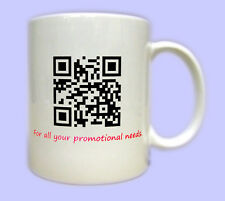 QR Code Mug. Printed gift mugs, target personalised to Website Facebook or text.