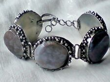 """INDIAN SILVER EMBOSSED 1.25""""HANDMADE BRACELET WITH NATURAL AGATE STONES £6.99nwt"""