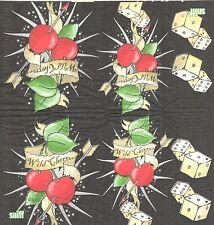 3 Mouchoirs en papier Cerise sauvage Jeu Dés Paper Hankies Cherry Dice serviette