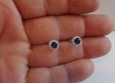 925 STERLING SILVER LADIES STUD EARRINGS W/2 CT TANZANITE/DIAMONDS/9MM DIAMETER
