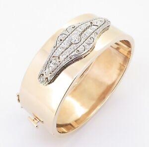 .Vintage 14K Gold Platinum 1.15tcw Old Cut Diamond Hinged Bangle 38.4g Val$10640