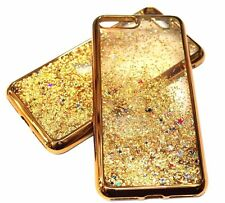 For iPhone 7+ PLUS - Gold Trim Glitter Stars Sparkle Liquid Waterfall Case Cover