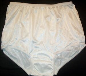 3 Pair (WIDER CROTCH) Size 8 White Nylon Tricot Brief Panty USA Southern Nights