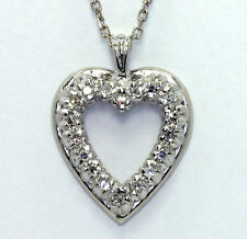 Diamond heart pendant necklace 14K white gold 18 G VS rounds .25CT + cable chain