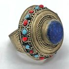 Huge Vintage Islamic Ring Ottoman Empire Style Middle Eastern Blue Stone Old
